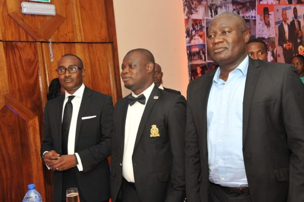 (L-R) Adrew Enahoro, Head, Legal/Public Relations, Promasidor Nigeria; Isiaka Lawal of PR Department, Promasidor; and Alaba Fadero, Executive Director, MediaReach OMD; at the 2016 Promasidor Quill Awards event held at Sheraton Lagos Hotel …recently