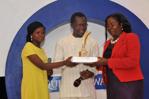 Daphne Uduneje (R), winner, Brand Advocate of the Year; receiving her award from Miss Toyosi Ogunseye, Editor, Sunday Punch and Bolaji Tunji, Executive Director, Special Duties, Sun Newspapers; at the 2016 Promasidor Quill Awards event held at Sheraton Lagos Hotel …recently