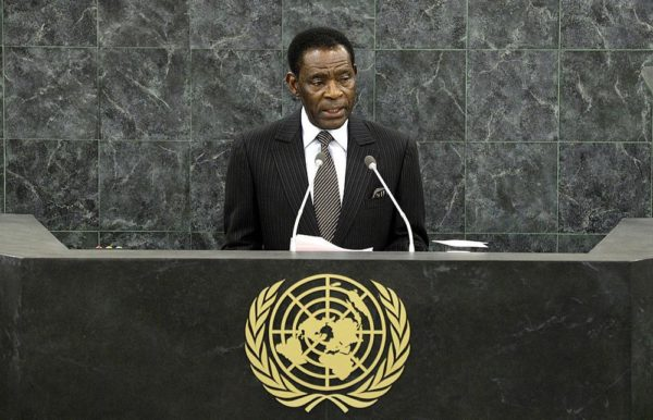 NEW YORK, NY - SEPTEMBER 26:  Equatoguinean President Teodoro Obiang Nguema Mbasogo addresses the 68th United Nations General Assembly at U.N. headquarters on September 26, 2013 in New York City. Over 120 prime ministers, presidents and monarchs are gathering this week for the annual meeting at the temporary General Assembly Hall at the U.N. headquarters while the General Assembly Building is closed for renovations.  (Photo by Justin Lane-Pool/Getty Images)