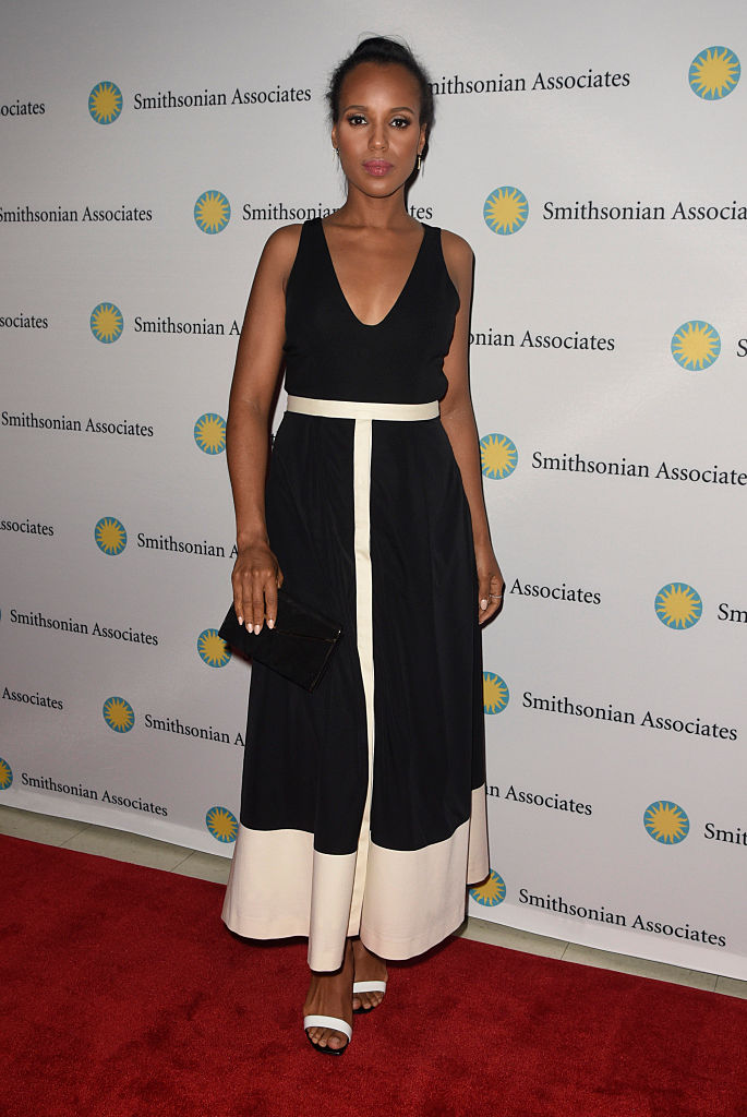 "WASHINGTON, DC - APRIL 28: Actress Kerry Washington poses on the red carpet during the ""Scandal-ous!"" event hosted by the Smithsonian Associates with Shonda Rhimes and the cast of ABC's Scandals at the University of District of Columbia Theater of the Arts on April 28, 2016 in Washington, DC. (Kris Connor/Getty Images)"