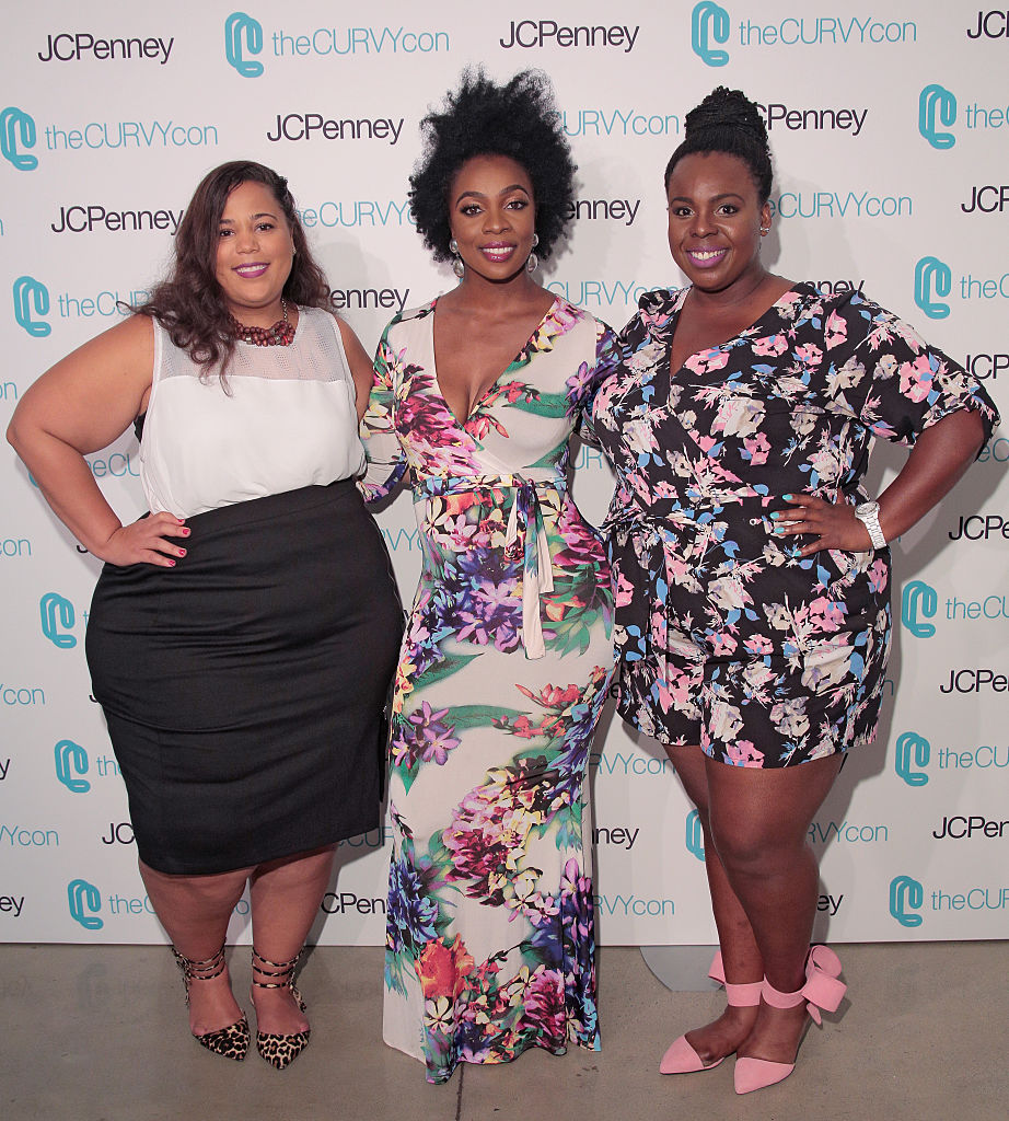 NEW YORK, NY - JUNE 17: Co-Founders of TheCurvyCon Chastity Garner (L) and CeCe Olisa (R) pose with fitness guru Anowa Adjah (C) during TheCurvyCon 2016 at Metropolitan Pavilion West on June 17, 2016 in New York City. (Photo by Randy Brooke/Getty Images)