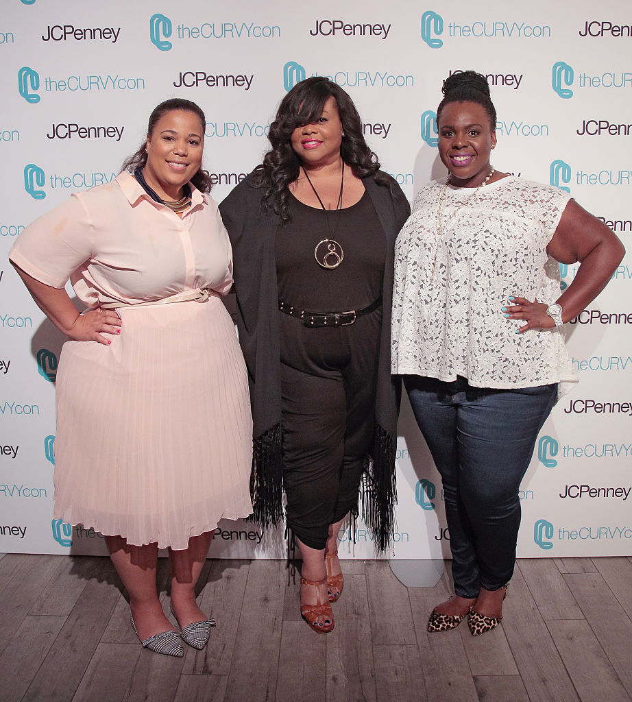 NEW YORK, NY - JUNE 18: Co-Founders of TheCurvyCon CeCe Olisa (L) and Chastity Garner (R) pose with Celebrity Stylist Susan Moses (c) during TheCurvyCon 2016 at Metropolitan Pavilion West on June 18, 2016 in New York City. (Photo by Randy Brooke/Getty Images)