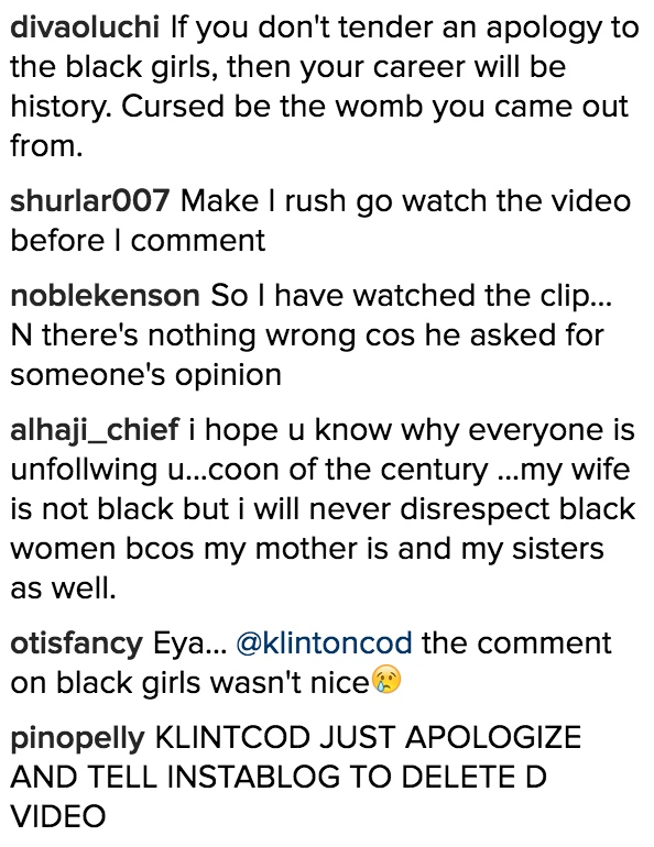 Klinton Cod Black Girl Comments 11