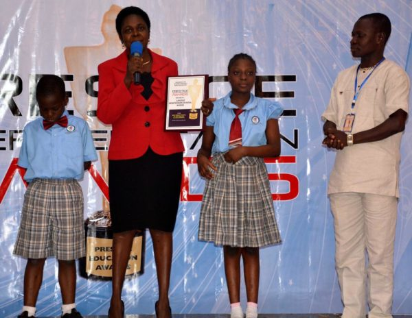 Lagooz School representative after winning Best Primary School in Lagos (Private)