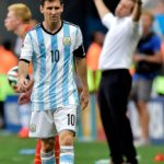 Lionel Messi of Argentina and Marc Wilmots, headcoach of Belgium during a FIFA 2014 World Cup Quarter-Final match between Argentina and Belgium at the Estadio Nacional stadium in Brasilia, Brazil. (Photo by William Van Hecke/Corbis via Getty Images)