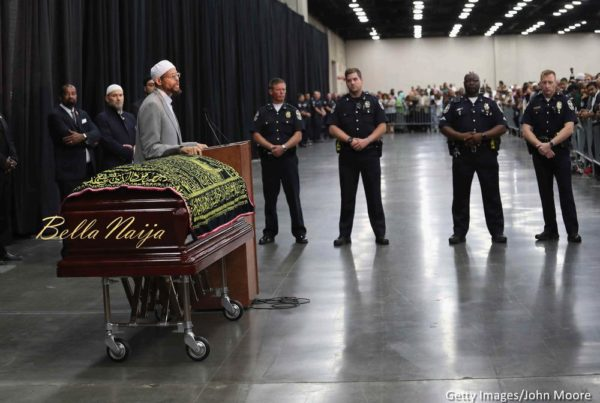 Police stand guard during an Islamic prayer service for Muhammad Ali at the Kentucky Exposition Center on June 9, 2016 in Louisville, Kentucky
