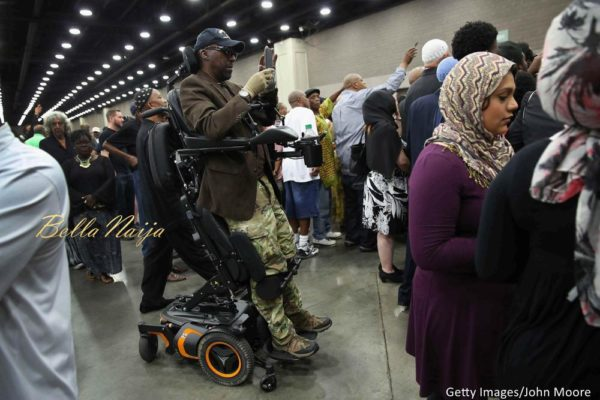 People attend an Islamic prayer service for Muhammad Ali at the Kentucky Exposition Center on June 9, 2016 in Louisville, Kentucky.