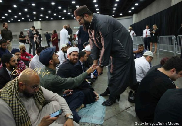 Muslims arrive for the beginning of an Islamic prayer service for Muhammad Ali at the Kentucky Exposition Center on June 9, 2016 in Louisville, Kentucky.