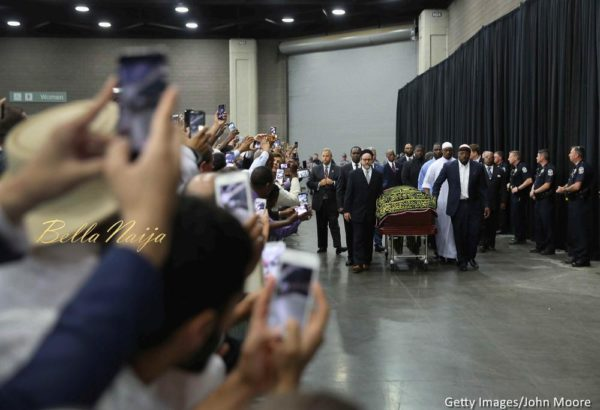 The casket of Muhammad Ali arrives for an Islamic prayer service at the Kentucky Exposition Center on June 9, 2016 in Louisville, Kentucky.