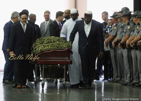 The casket with the body of Muhammad Ali arrives for an Islamic prayer service at the Kentucky Exposition Center on June 9, 2016 in Louisville, Kentucky.