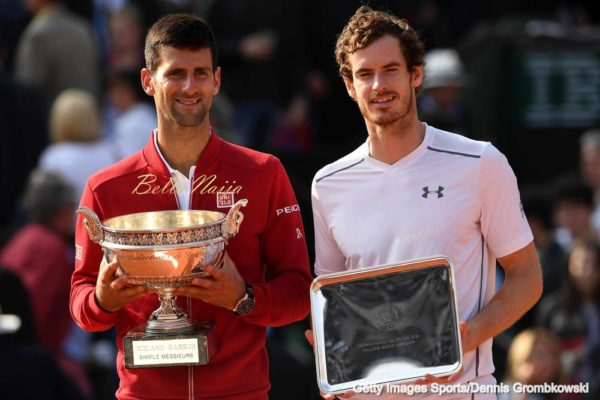 PARIS, FRANCE - JUNE 05: Champion Novak Djokovic of Serbia and runner up Andy Murray of Great Britain pose with the trophies won during the Men's Singles final match on day fifteen of the 2016 French Open at Roland Garros on June 5, 2016 in Paris, France. (Photo by Dennis Grombkowski/Getty Images)