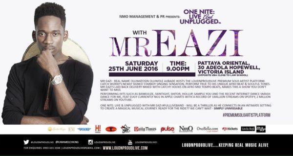 ONE NITE LIVE & UNPLUGGED WITH MR EAZI SATURDAY 25 JUNE 2016