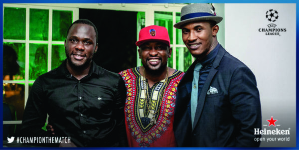 Obabiyi Fagade, Dotun and Gideon Okeke at the Heineken House Lagos