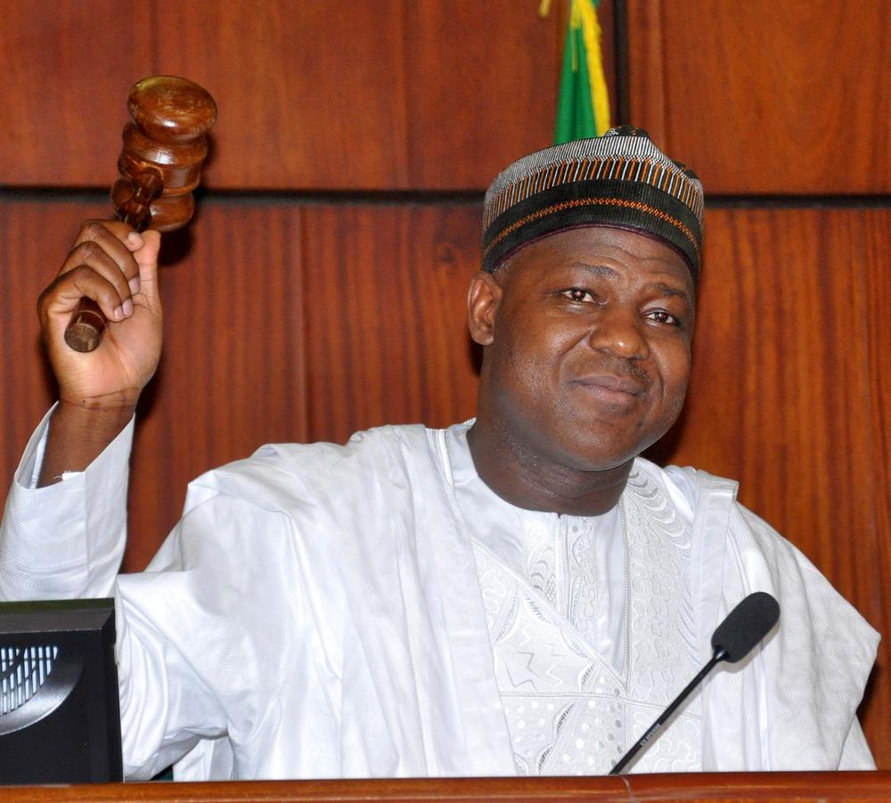 PIC.13.THE SPEAKER OF THE HOUSE OF REPRESENTATIVES, REP. YAKUBU DOGARA USING THE GAVEL AT THE INAUGURATION OF THE 8TH NATIONAL ASSEMBLY IN ABUJA ON TUESDAY (9/6/15). 3013/9/6/2015/CH/BJO/NAN