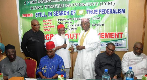 PIC.19. FROM LEFT: GUEST SPEAKER, CHIEF AYO ADEBANJO; FOUNDER IGBO YOUTH MOVEMENT (IYM),  COMRADE ELLIOT UKO; FORMER VICE PRESIDENT, DR. ALEX EKWUEME; FORMER GOVERNOR OF ANAMBRA  STATE, CHIEF CHUKWUEMEKA EZEIFE; FORMER MINISTER OF INFORMATION, PROF. JERRY GANA;  FORMER GOVERNOR OF ANAMBRA STATE, MR PETER OBI AND GUEST, DR. ARTHUR NWANKWO DURING THE 17TH IYM ANNUAL CONVENTION IN ENUGU ON SUNDAY (12/6/16). 4200/12/6/2016/MAG/HB/NAN/