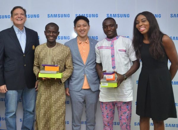 "L-R: Director and Business Leader, Information Technology and Mobile, Samsung Electronics West Africa, Mr. Emmanouil Revmatas; Winner, Samsung ""Inspire Bigger Dreams"" contest, Ibrahim Salihu; Manager, Product Marketing, Samsung Electronics West Africa, Mr. Chaejin Im; Winner, Samsung ""Inspire Bigger Dreams"" contest, Ibrahim Ambali and Operator/Mobile Communications And Activations Specialist, Samsung Electronics West Africa, Ms. Nkem Odini during the presentation of Samsung mobile devices to winners of its just concluded campaign at Samsung Offices, VI"
