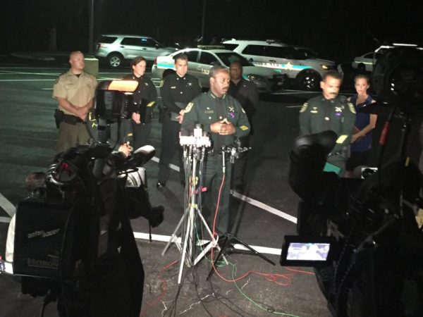 Sheriff Demings addressin the media