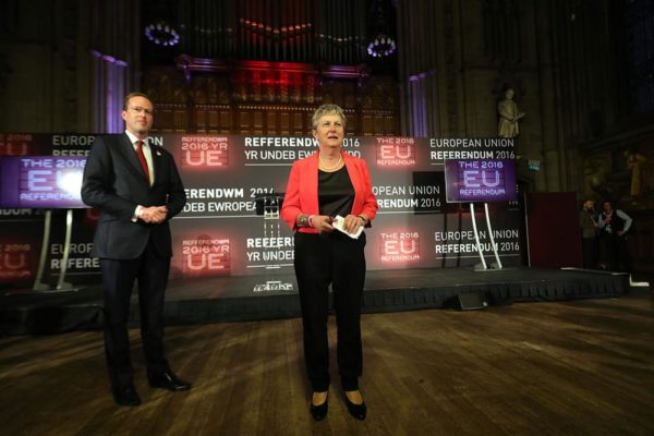 MANCHESTER, ENGLAND - JUNE 24: Labour MP Gisela Stuart (R) and co-chair of Vote LEAVE talks to the media before the final voting results are announced forecasting LEAVE winning the EU referendum at Manchester Town Hall on June 24, 2016 in Manchester, England. The results from the historic EU referendum are awaiting a final declaration and the United Kingdom is projected to have voted to LEAVE the European Union. (Photo by Christopher Furlong/Getty Images)