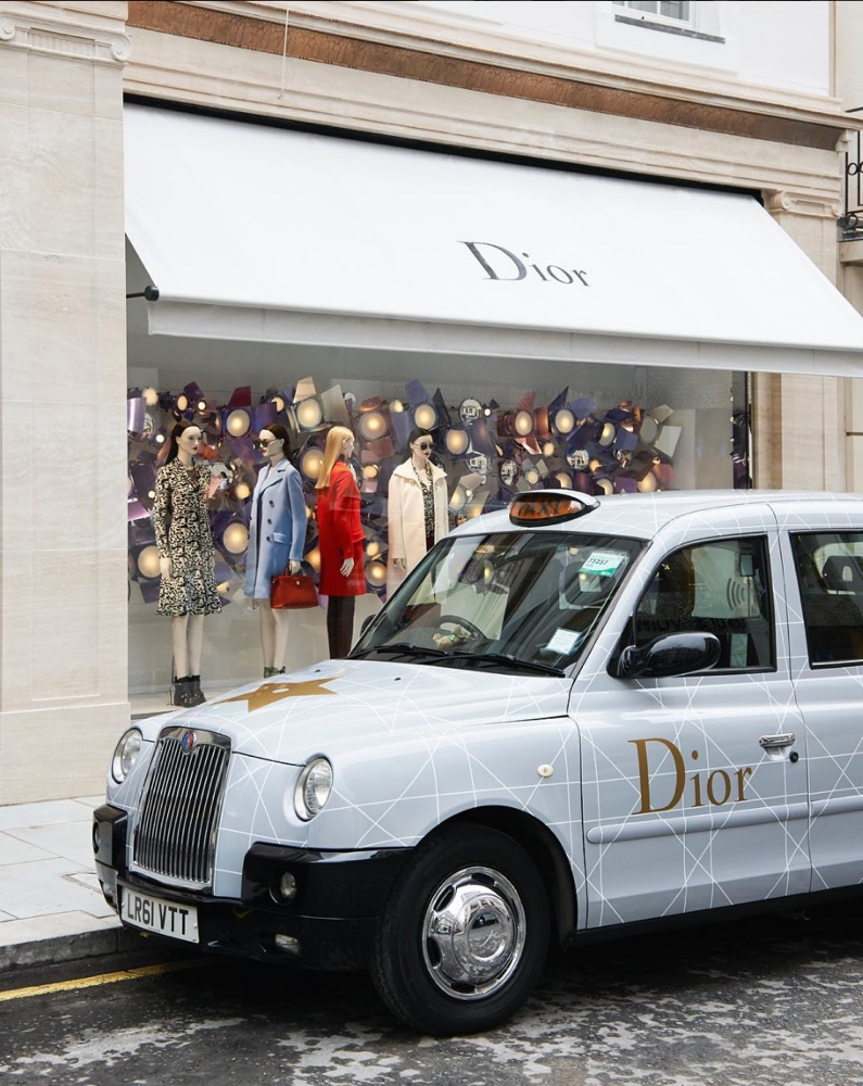 The traditional English cabs were decorated with Dior's iconic cannage motif to celebrate the Dior Cruise/Resort 2017 fashion show.