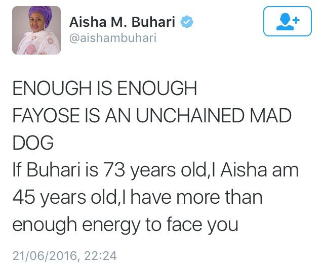 Image result for Aisha Buhari called Fayose A Mad Dog
