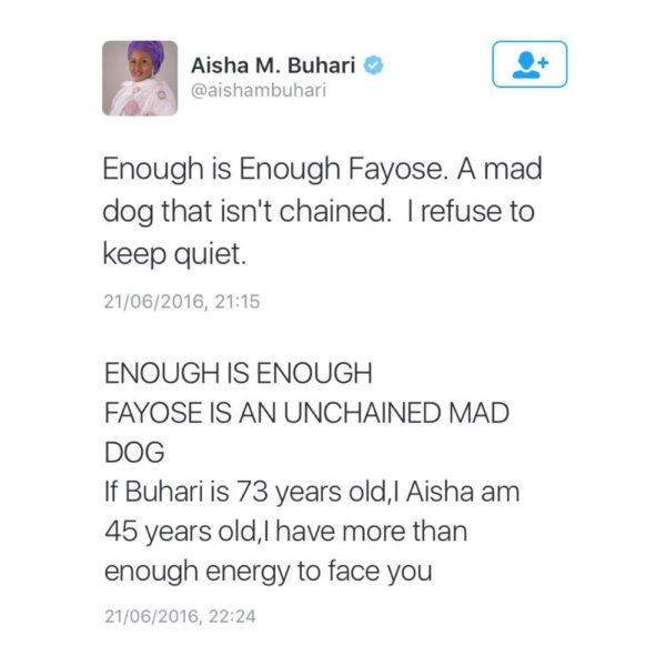 "Aisha Buhari calls Gov. Fayose ""an unchained mad man"" and  PDP Replies"