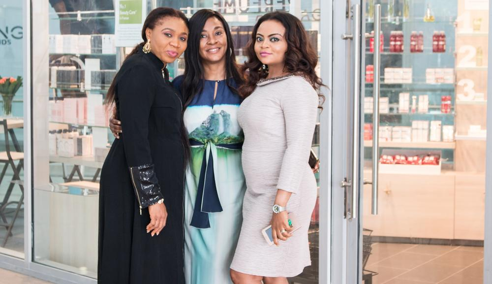 From Left: Geth Okoli; Head of Sales Montaigne Place, Ms Alali Hart; Managing Director of Parfums Estate Limited, a subsidiary of Montaigne Place Group, Funmi Elliott; Head of Marketing & Brands Management; Montaigne Place