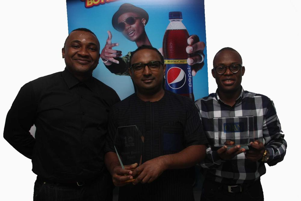 From  left - Jones Bassey, Account Director Insight Communications, Norden Thurston Head of Marketing, Seven Up Bottling Company Plc and Segun Ogunleye Brand Manager Seven Up Bottling Company Plc