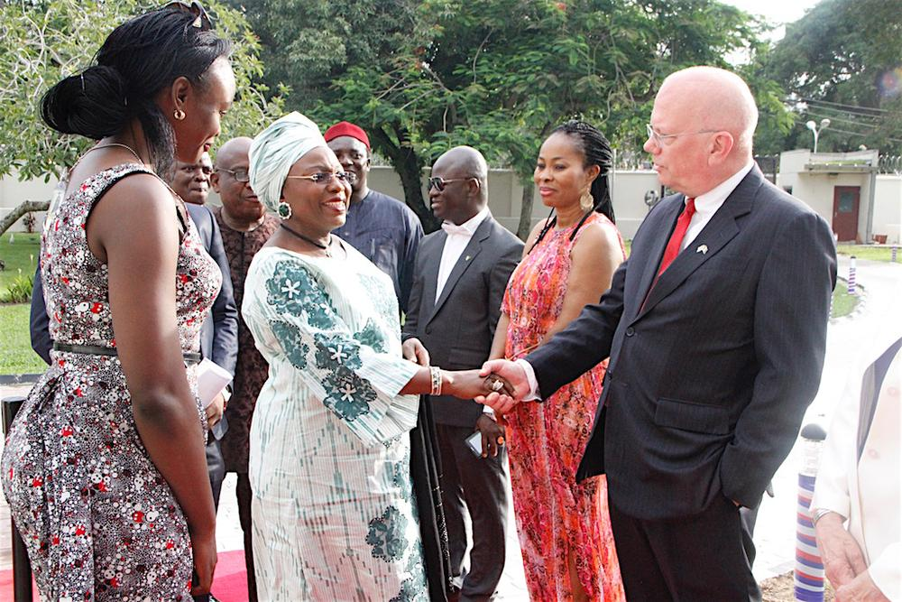 United States Ambassador to Nigeria, James F. Entwistle (right), welcoming former Lagos State Deputy Governor, Sarah Sosan
