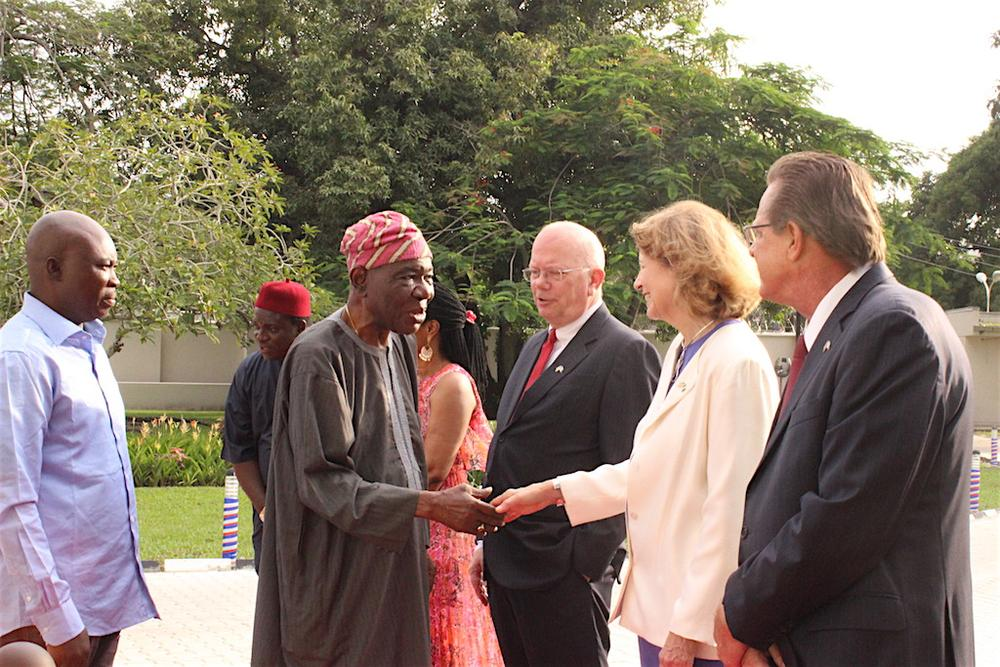 Former Head of the Interim National Government, Chief Ernest Shonekan; United States Ambassador to Nigeria, James F. Entwistle; wife of U.S. Ambassador to Nigeria, Dr. Pamela G. Schmoll; and U.S. Consul General Francis John Bray