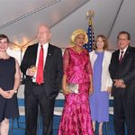Consular Officer, Claire Ruffing; U.S. Ambassador to Nigeria, James F. Entwistle; a representative of the Nigerian Minister of Foreign Affairs, Ms. Vivian Okeke; wife of U.S. Ambassador to Nigeria, Dr. Pamela G. Schmoll; and Consul General Francis John Bray