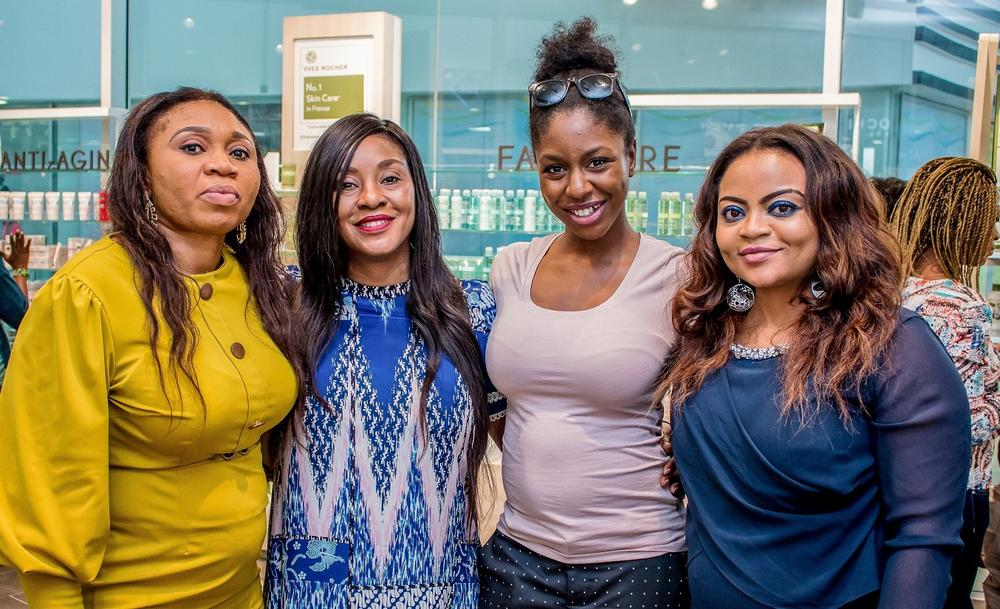 From Left: Geth Okoli; Head of Sales Montaigne Place, Ms Alali Hart; Managing Director of Parfums Estate Limited, a subsidiary of Montaigne Place Group, Izar Hyacinthe; Trade Marketing Manager, Yves Rocher France, Funmi Elliott; Head of Marketing & Brands Management Montaigne Place