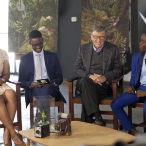 Bill  Gates with the panelists
