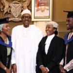 President Buhari with his recent graduate children