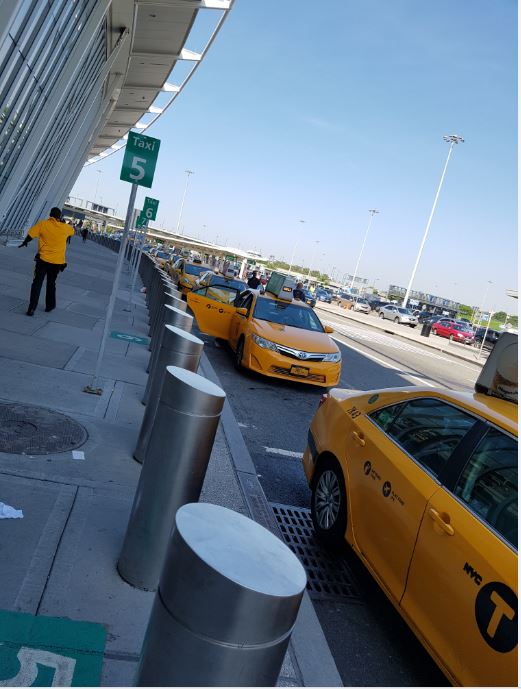 Classic New York Yellow cabs at JFK Airport