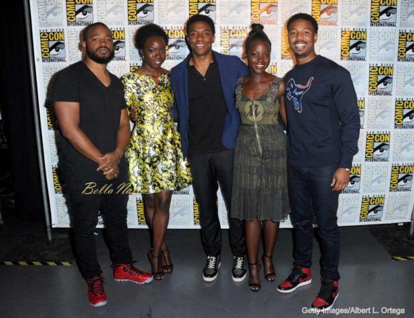 (L-R) Director Ryan Coogler, actors Danai Gurira, Chadwick Boseman, Lupita Nyong'o, and Michael B. Jordan
