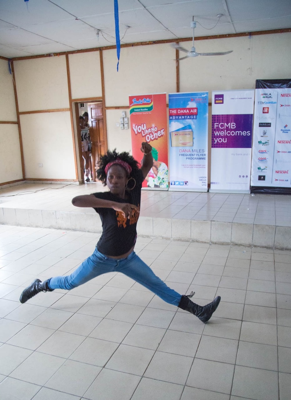 Dance instructor Julia displaying
