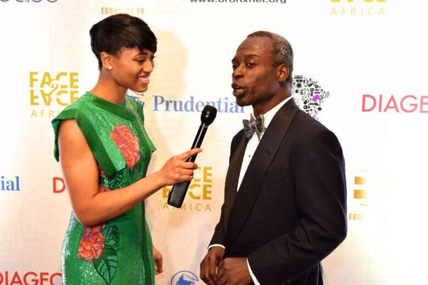 Sandra Appiah, Red Carpet Host, with Jidé Zeitlin, Chairman of Coach Inc. and former Partner at The Goldman Sachs Group