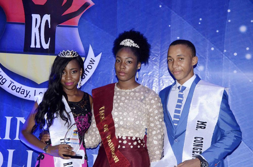 From left, Okoro Amira, Winner Face of Rainbow, Female Category, Middle- Stephanie Umeh, outgoing queen and McAusten Ezenduka, Winner Male Category, Face of Rainbow