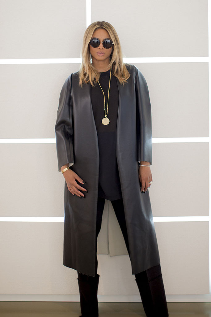MILAN, ITALY - JANUARY 12: Ciara poses backstage ahead of the Calvin Klein Collection show as a part of Milan Fashion Week Menswear Autumn/Winter 2014 on January 12, 2014 in Milan, Italy. (Photo by Kevin Tachman/Getty Images)