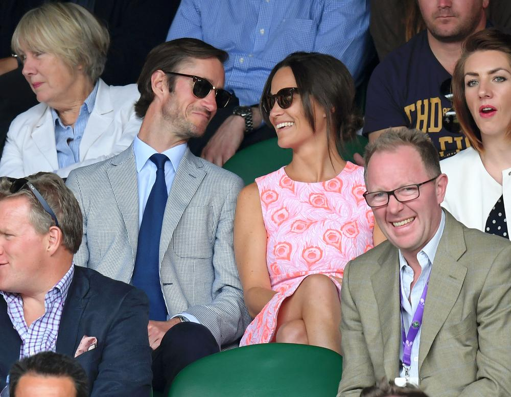 LONDON, ENGLAND - JULY 06: Pippa Middleton and James Matthews attend day nine of the Wimbledon Tennis Championships at Wimbledon on July 06, 2016 in London, England. (Photo by Karwai Tang/WireImage)