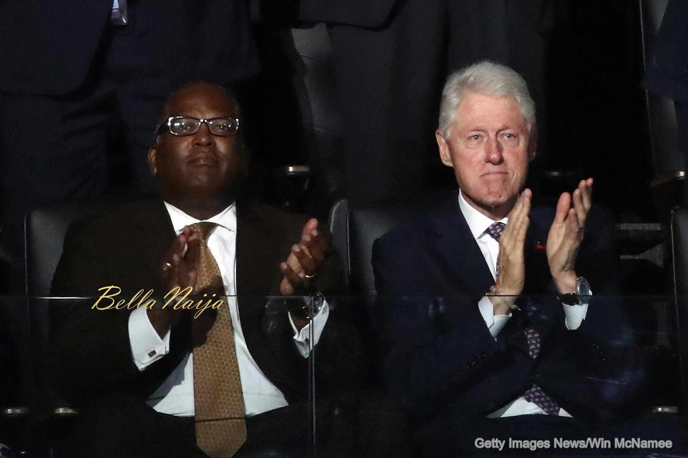 PHILADELPHIA, PA - JULY 25: Former U.S. President Bill Clinton (R) claps during first lady Michelle Obama's speech on the first day of the Democratic National Convention at the Wells Fargo Center, July 25, 2016 in Philadelphia, Pennsylvania. An estimated 50,000 people are expected in Philadelphia, including hundreds of protesters and members of the media. The four-day Democratic National Convention kicked off July 25. (Photo by Win McNamee/Getty Images)