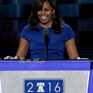 PHILADELPHIA, PA - JULY 25: First lady Michelle Obama delivers remarks on the first day of the Democratic National Convention at the Wells Fargo Center, July 25, 2016 in Philadelphia, Pennsylvania. An estimated 50,000 people are expected in Philadelphia, including hundreds of protesters and members of the media. The four-day Democratic National Convention kicked off July 25. (Photo by Alex Wong/Getty Images)