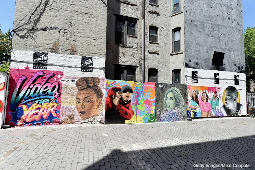 NEW YORK, NY - JULY 26: A mural is unveiled announcing the 2016 MTV Video Music Awards nominations in First Street Green Art Park on July 25, 2016 in New York City. (Photo by Mike Coppola/Getty Images for MTV)