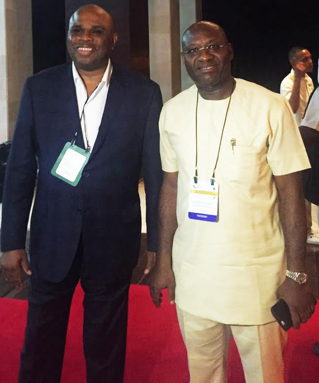 L-R: Afreximbank President, Benedict Oramah and Heritage Bank Plc Managing Director/CEO, Ifie Sekibo, after the execution of the term sheet for the issuance of guarantee for its $150 million Convertible Bond with the African Export Import Bank (AfreximbanK) to support Heritage Bank Plc in its next phase of growth.