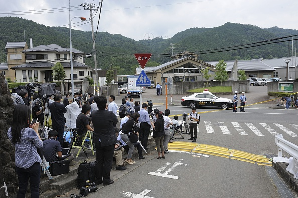 SAMIGAHARA, JAPAN - JULY 26 : Police and reporters are seen on the site where Satoshi Uematsu, 26, killed 19 and wounding 25 in knife attack in a residential care for people with disabilities on July 26, 2016, in Sagimahara city, Kanagawa Prefecture, in western of Tokyo, Japan. (Photo by David Mareuil/Anadolu Agency/Getty Images)