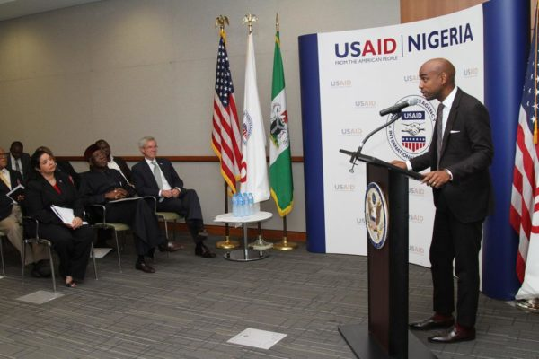 Jehiel Oliver, CEO of Hello Tractor, delivers remarks during the launch of USAID's Nigeria Agricultural Partnerships