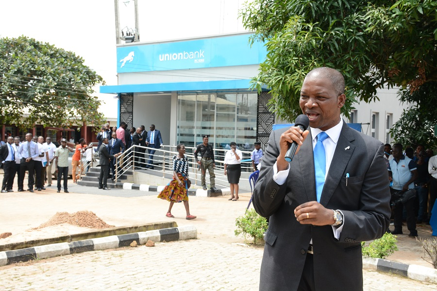 Joe Mbulu, Transformation Director, Union Bank addressing the students and guests at the launch of the smarter banking centre