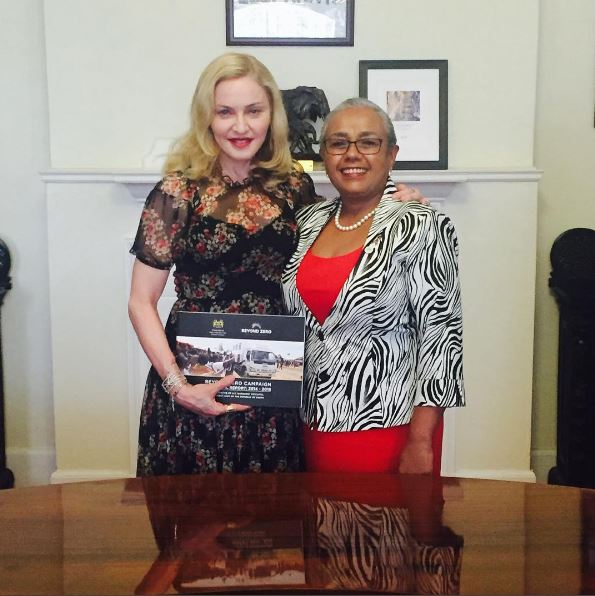 Madonna with Margaret Kenyatta, the first lady of Kenya