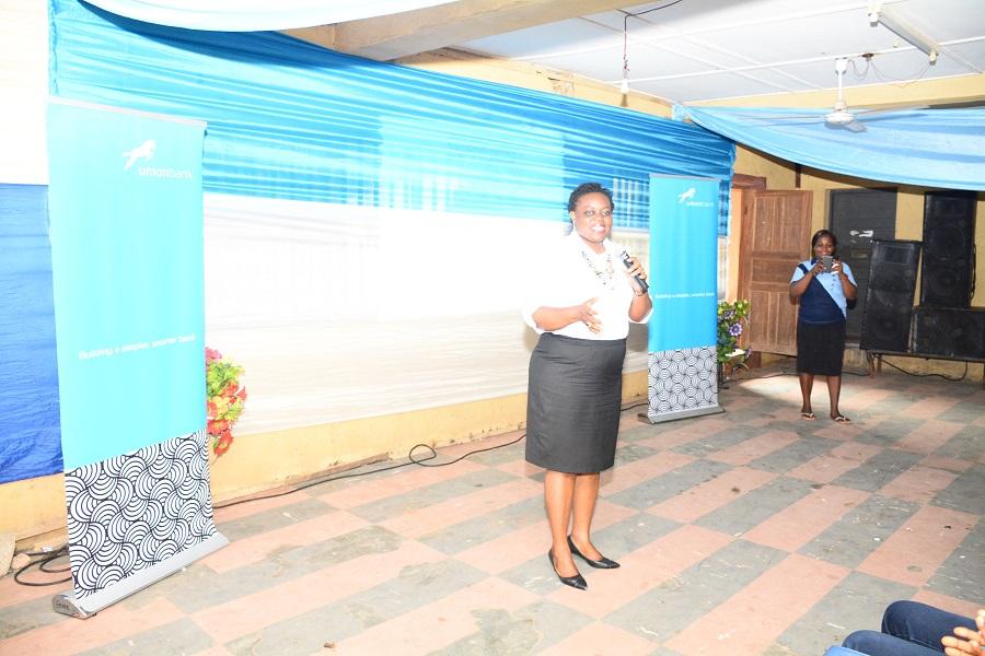 Omotola Oyebanjo, Head of Communications and Media, Union Bank addressing the students