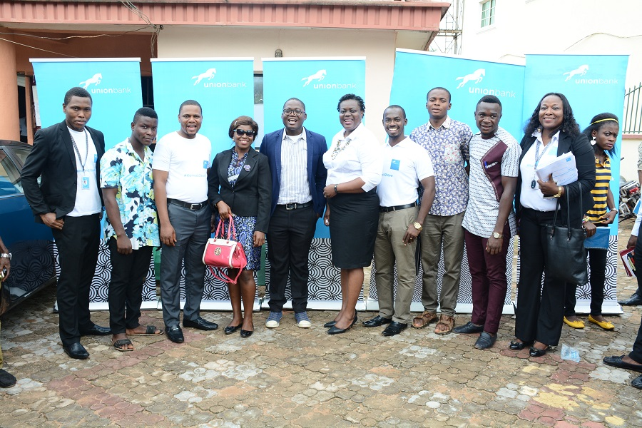 Omotola Oyebanjo_ Headworld Esene_ Union Bank Oko branch staffs together with representatives of the student Union